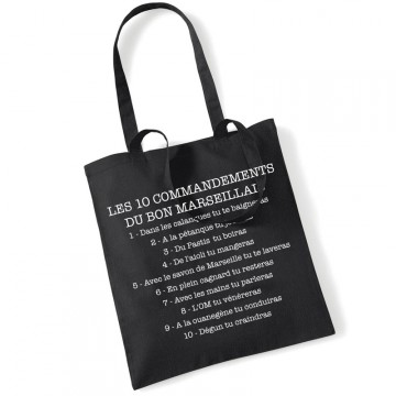 Tote bag les 10 commandements du bon marseillais