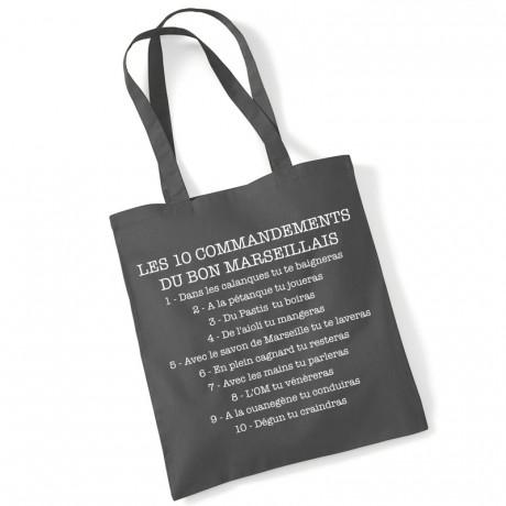 Tote bag les 10 commandements du bon marseillais