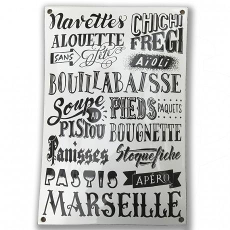 Plaque en métal émaillé specialités marseillaise