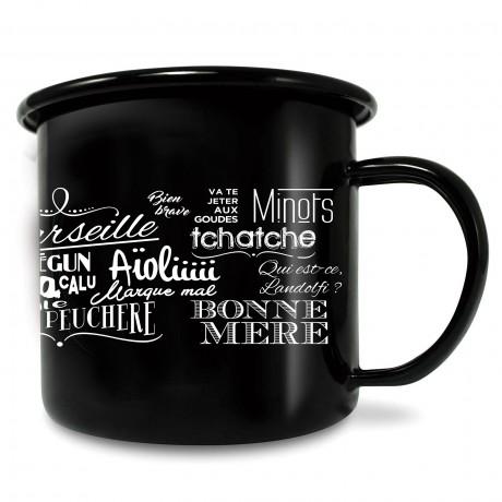 Mug en métal émaillé expressions marseillaises